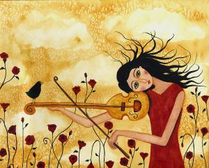 crow-bird-blackbird-raven-music-violin-floral-poppy-whimsical-folk-debi-hubbs-children-art-debi-hubbs